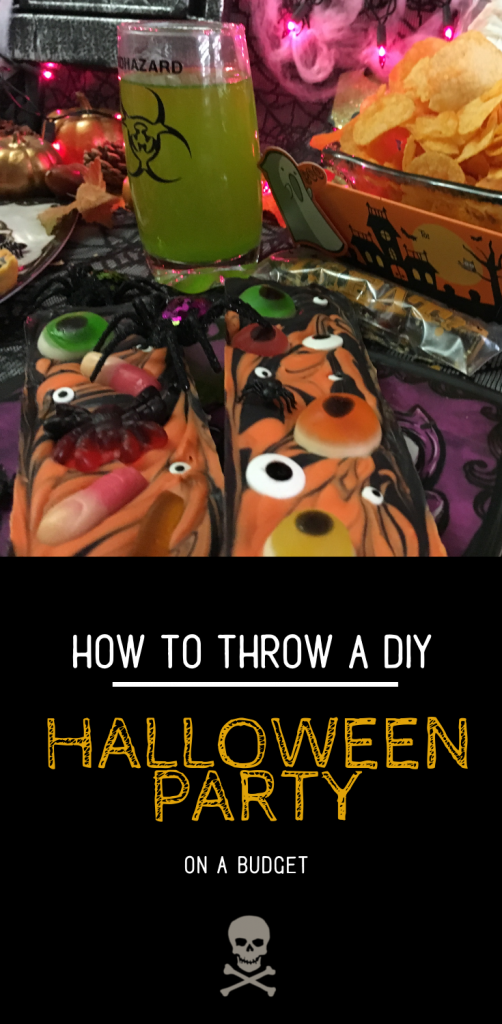 I had so much fun putting together this DIY Halloween Party On A Budget. The gourmet halloween gummy chocolate bars were a big hit and so was the toxic punch! This would be great for a kids halloween party or even an office halloween party. DIY Halloween Treats #diyhalloween