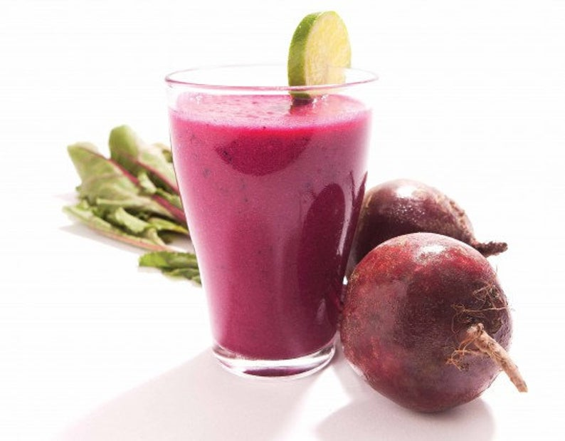 Beet Root Smoothie Try adding the following when making your smoothie. 1 large apple, cored & peeled & chopped 1/3 stalk of celery, chopped (make sure you take the strings out) 1/3 cup frozen sliced peaches 1-inch piece of ginger, peeled and sliced then add your 1-2 tablespoons of Beet Root Smoothie Mix and 1 - 1/2 cup of your choice of milk, soy milk, vanilla mix, water, orange juice etc.