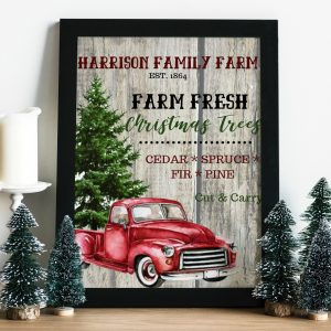 Custom DIY Christmas Printable - Family Tree Farm with custom Name & Date - Vintage Red Christmas Truck. DIY Printable Christmas Decor Ideas. #christmasdecor #christmasprintable