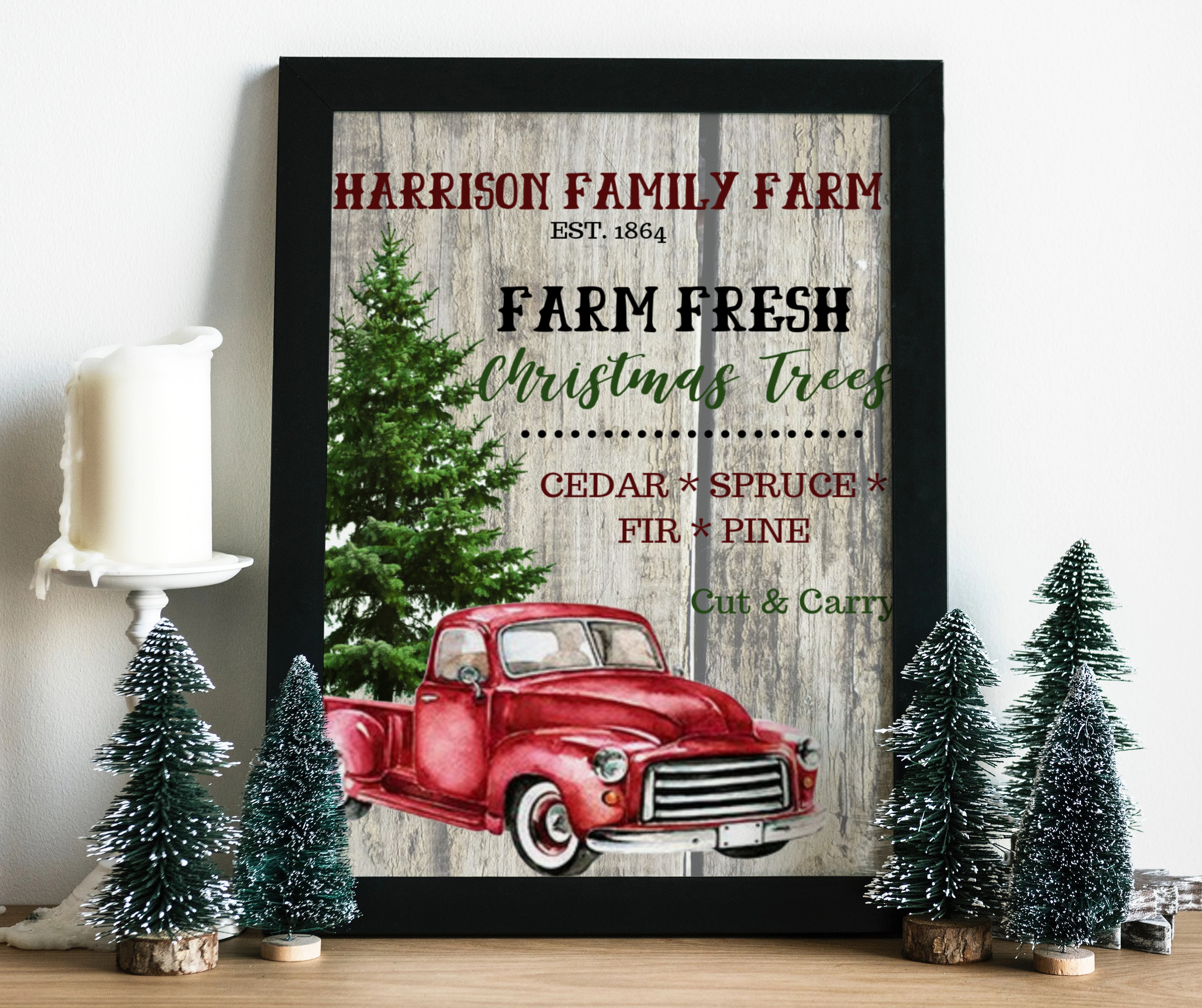 Vintage Red Truck Christmas Decor.Family Farm Christmas Tree Red Truck Custom Diy Christmas Decor Printable