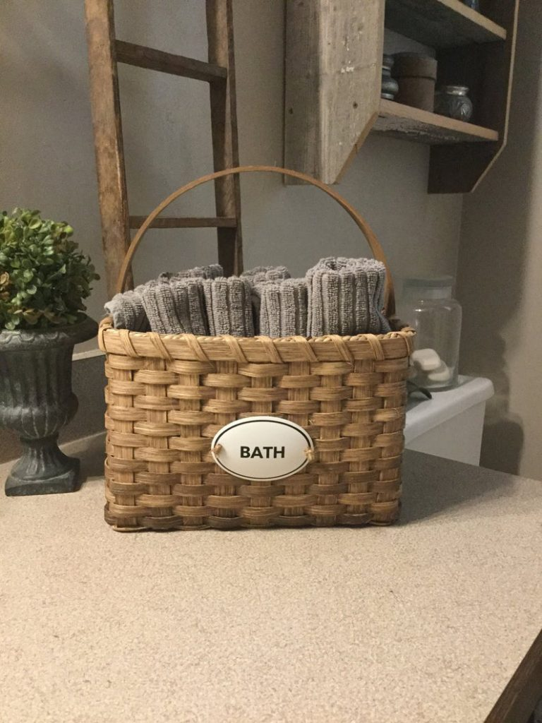 Bathroom storage ideas - baskets for storage in small spaces